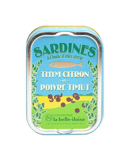 Sardines in virgin olive oil with thyme, lemon and Timut pepper  - La Belle-Iloise
