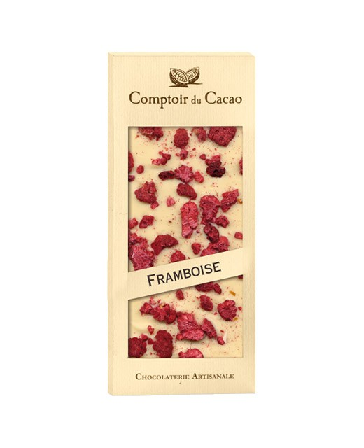 white chocolate tablet - raspberry - Comptoir du Cacao