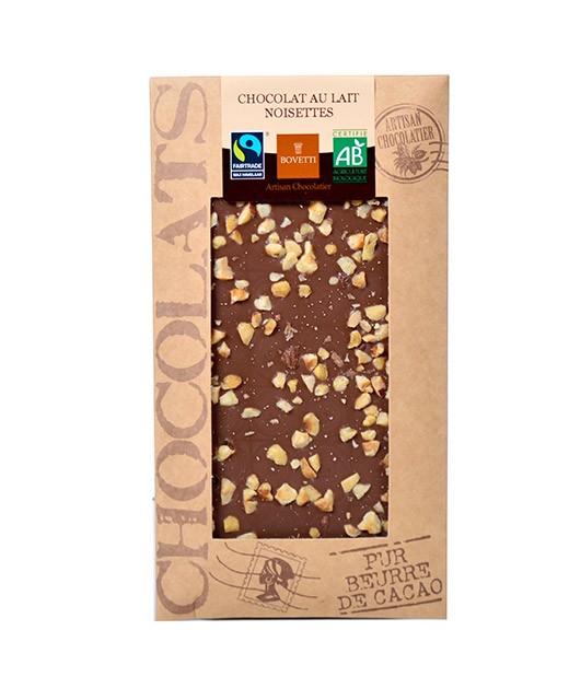 Milk chocolate bar - hazelnuts - organic - Bovetti