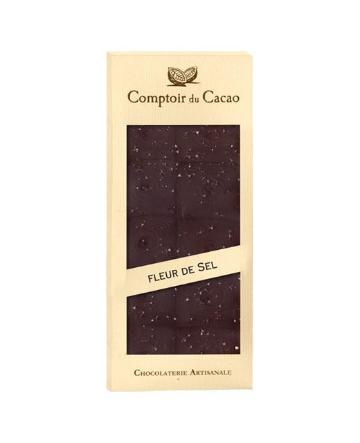 Dark chocolate tablet - Guérande salt flower - Comptoir du Cacao