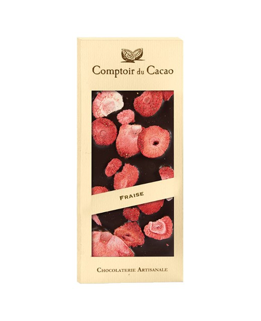 Dark chocolate tablet - Strawberry - Comptoir du Cacao