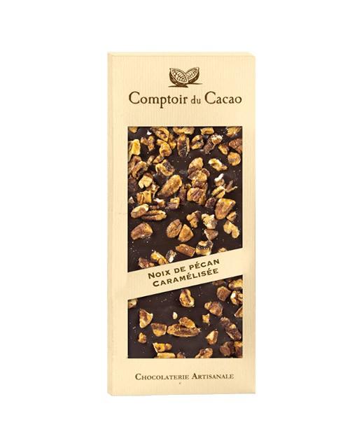 Dark chocolate tablet - Caramelised pecan nut - Comptoir du Cacao