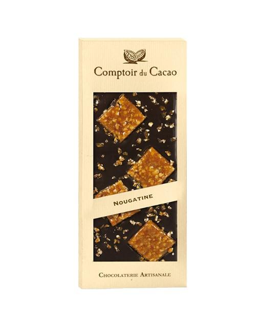 Dark chocolate tablet - Nougatine - Comptoir du Cacao