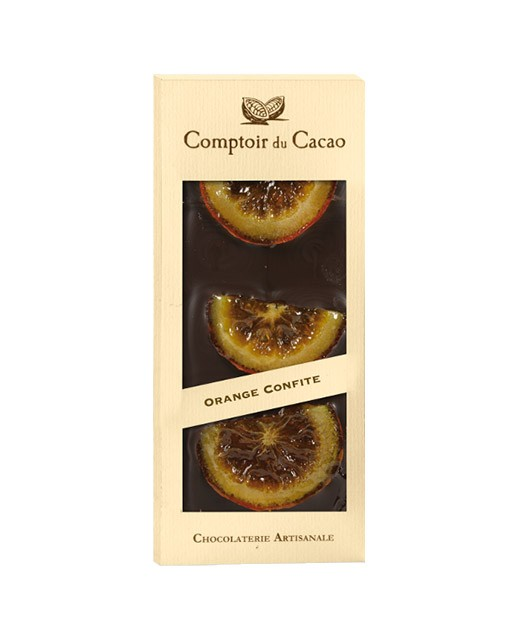 Tablet of dark chocolate - Candied orange - Comptoir du Cacao