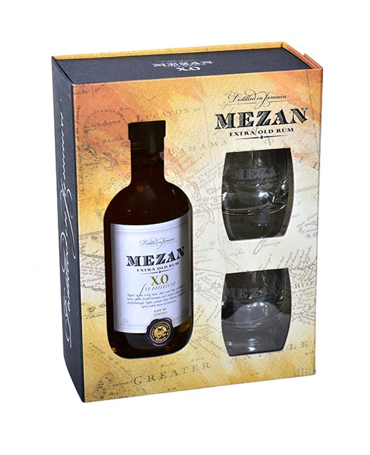 Jamaica Rum XO giftbox + 2 glasses - Mezan