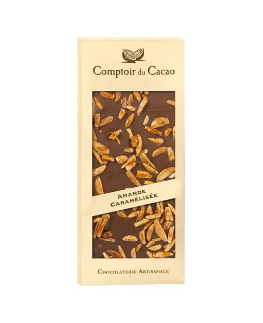 milk chocolate tablet - caramelised almond - Comptoir du Cacao
