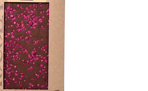Milk chocolate bar - crystallized roses - Bovetti