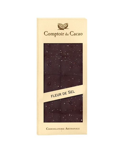 Dark chocolate tablet - Guérande salt flower - Comptoir du Cacao