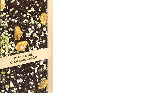 Dark chocolate tablet - caramelised pistachio - Comptoir du Cacao