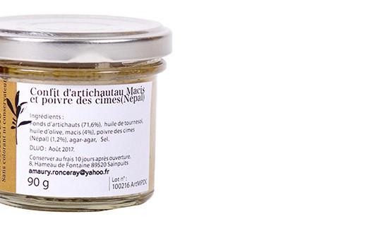 Artichoke confit with mace and poivre des cimes - Les Petits Potins