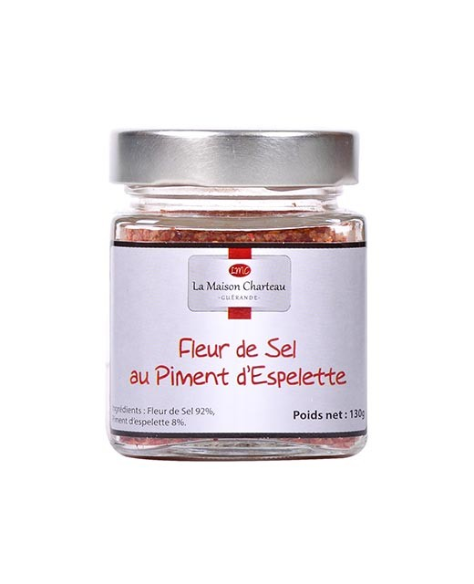 "French sea salt ""Fleur de Sel"" with Espelette chili pepper"