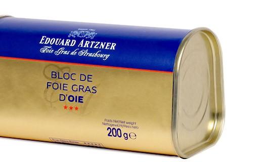 Block of goose foie gras 200g - Edouard Artzner