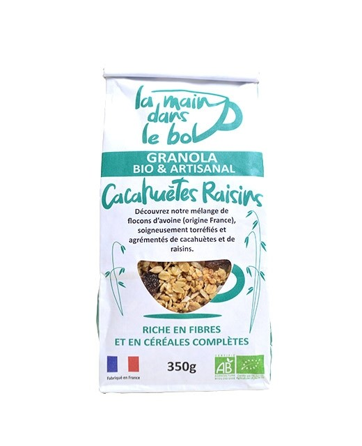 Organic granola - Peanuts and raisins - La main dans le bol
