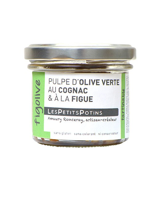 Green olive pulp with cognac and fig