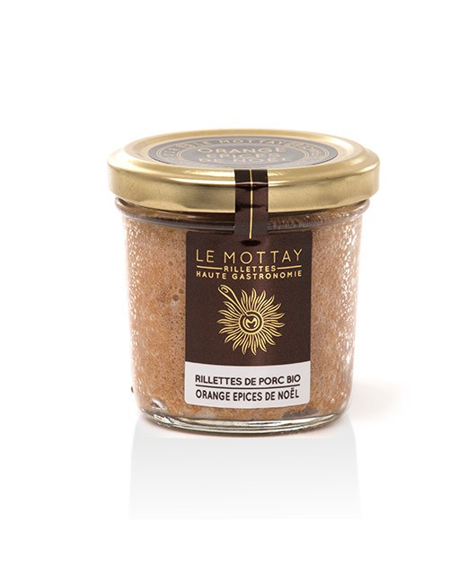 Pork rillettes with candied orange and Christmas spices - organic - Le Mottay Gourmand