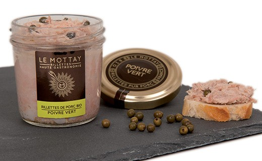 Organic pork rillettes with green pepper - Le Mottay Gourmand