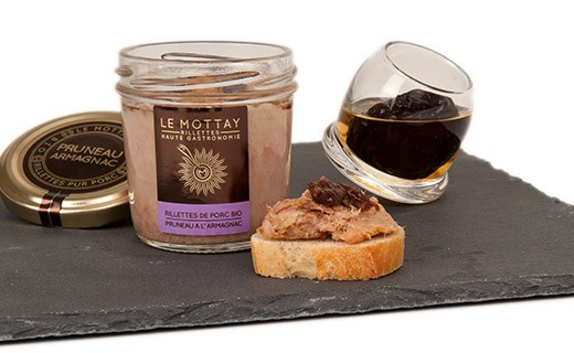 Organic pork rillettes with dried Prune and Armagnac - Le Mottay Gourmand