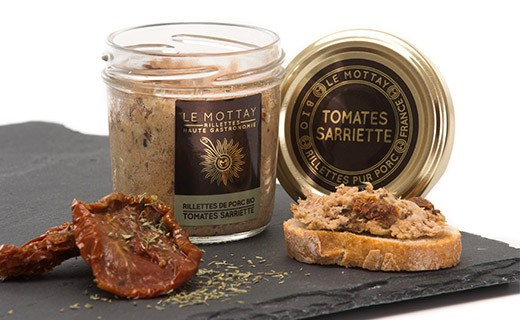 Pork rillettes with dried tomatoes and savory - organic - Le Mottay Gourmand
